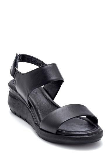 Siyah Kadın Deri Kalın Tabanlı Sandalet 5638268348