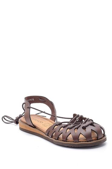 Kahverengi Kadın Deri Sandalet 5638273478