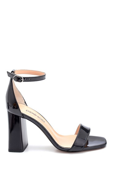 Siyah Kadın Rugan Yüksek Topuklu Sandalet 5638273643