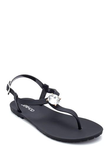 Siyah Kadın Taş Detaylı Sandalet 5638258423
