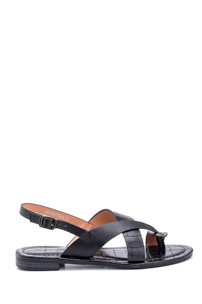 Siyah Kadın Casual Desenli Sandalet 5638262231