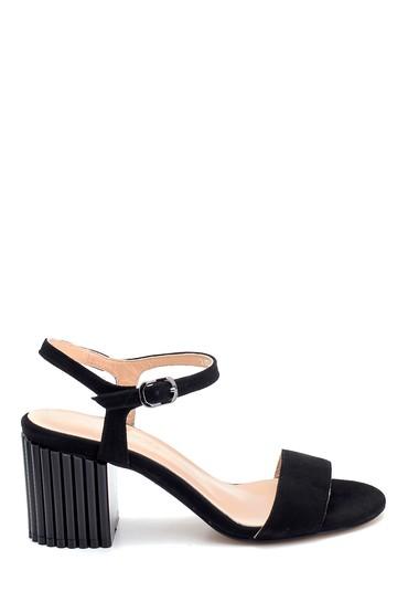 Siyah Kadın Süet Topuklu Sandalet 5638260901