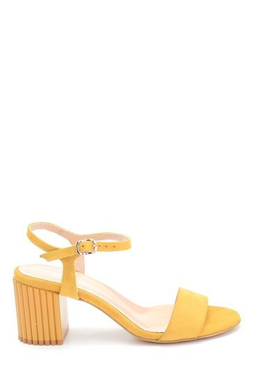 Sarı Kadın Süet Topuklu Sandalet 5638260903
