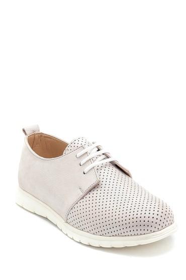 Bej Kadın Deri Sim Detaylı Ayakkabı 5638276138