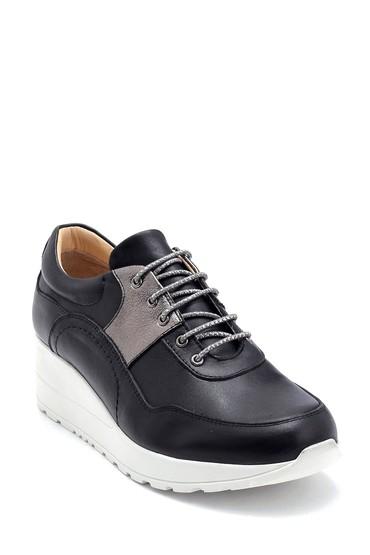 Siyah Kadın Deri Sneaker 5638291436