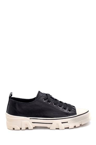 Siyah Kadın Deri Sneaker 5638292267