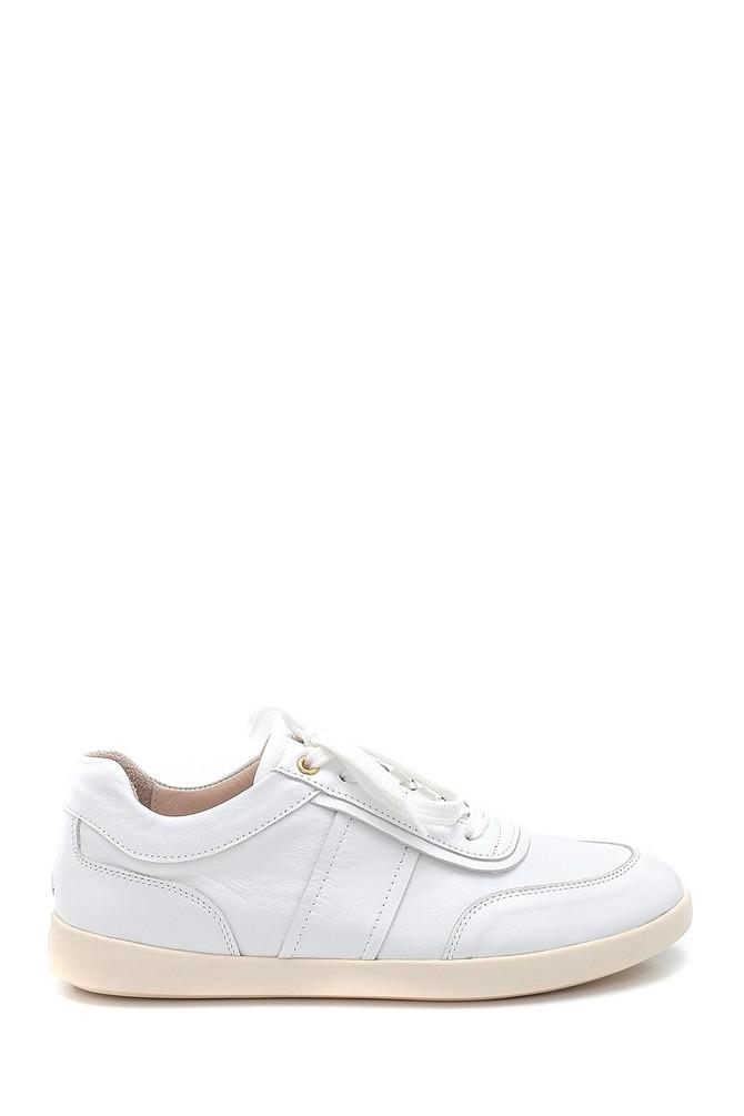 Beyaz Kadın Deri Sneaker 5638291824