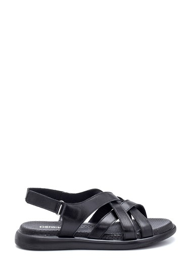 Siyah Kadın Deri Bantlı Sandalet 5638268196