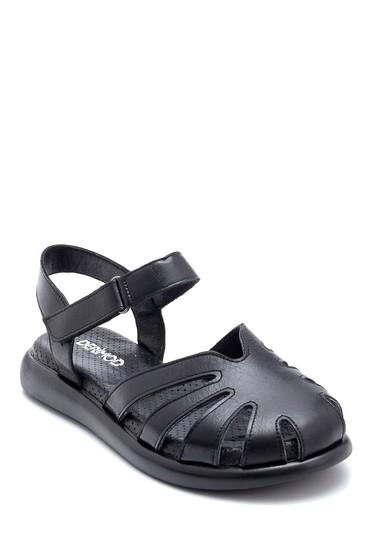 Siyah Kadın Deri Bantlı Sandalet 5638268310