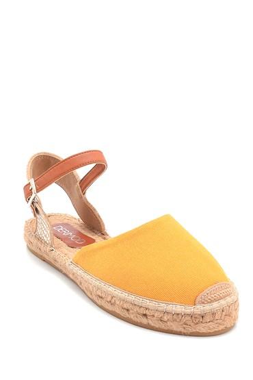 Sarı Kadın Kumaş Detaylı Espadril 5638289278