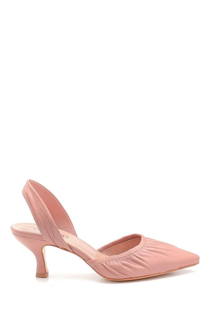 Pudra Kadın Deri Topuklu Sandalet 5638280790