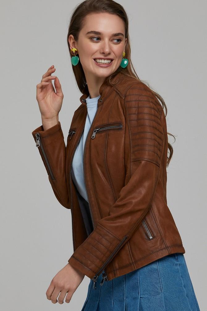 Kahverengi Gala Kadın Deri Ceket 5638114588