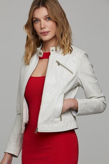 Bej Kylie Kadın Deri Ceket 5638168135