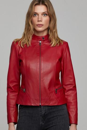 Kırmızı Viola Kadın Deri Ceket 5638226337