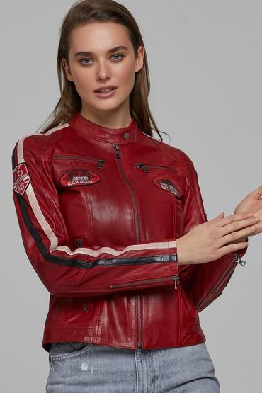 Kırmızı Ladyracer Kadın Deri Ceket 5638234832