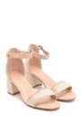 5638261083 Kadın Hasır Detaylı Topuklu Sandalet