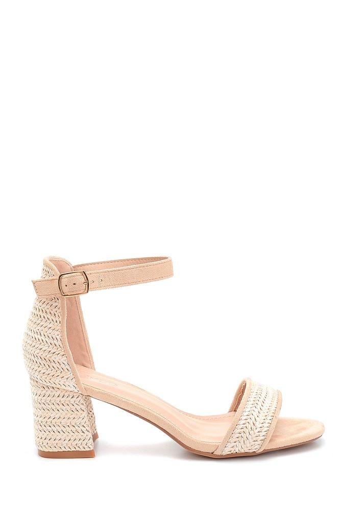 Bej Kadın Hasır Detaylı Topuklu Sandalet 5638261083