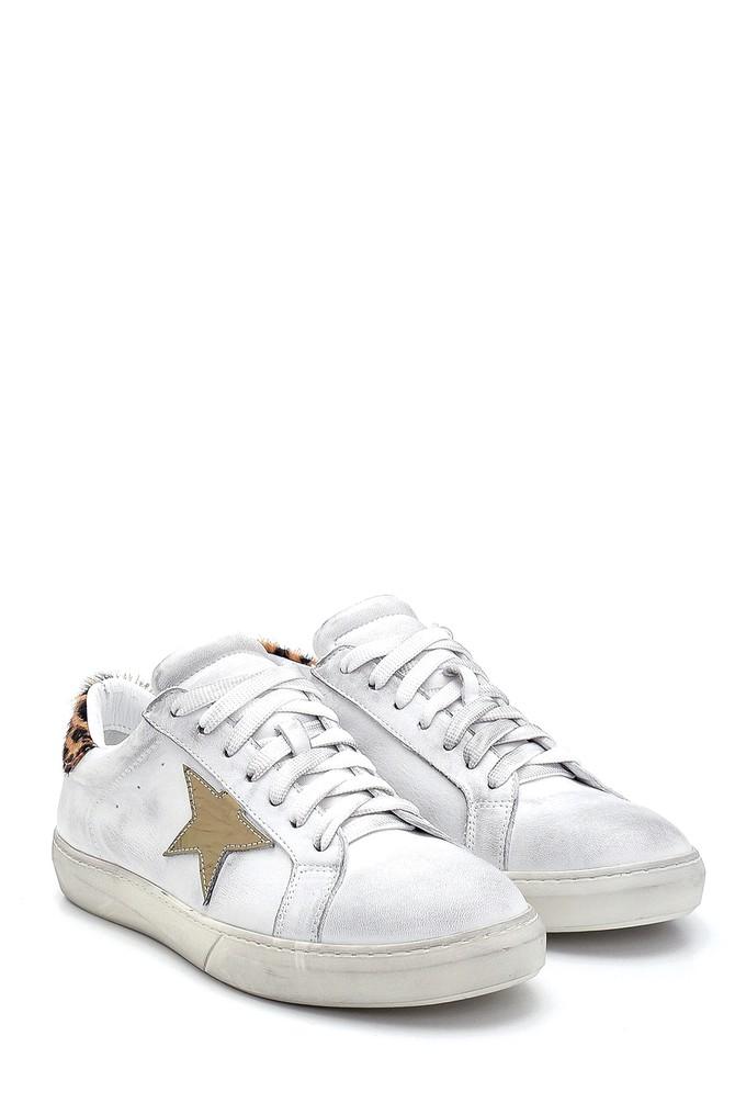 5638288416 Kadın Deri Yıldız Detaylı Sneaker