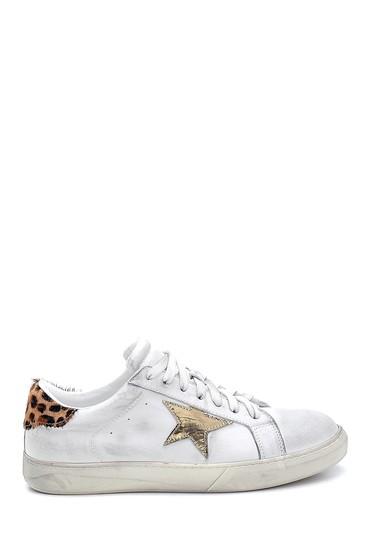 Beyaz Kadın Deri Yıldız Detaylı Sneaker 5638288416