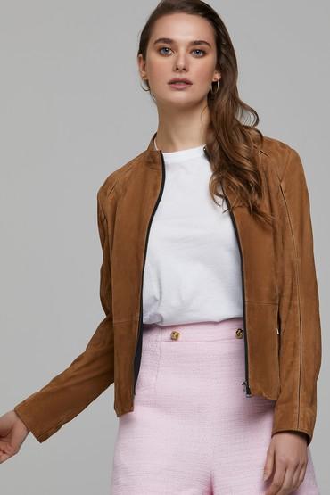 Camel Riva Kadın Süet Deri Ceket 5638294134