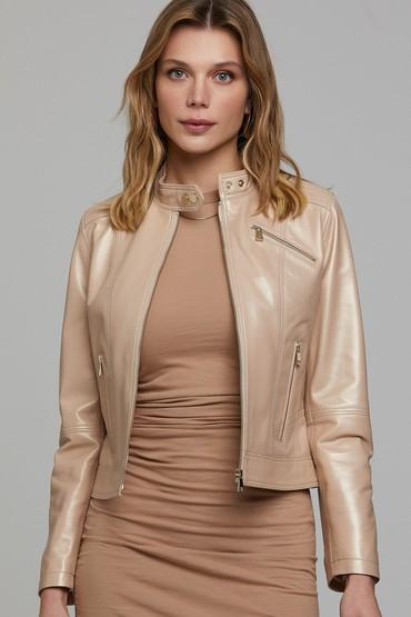 Pudra Kylie Kadın Deri Ceket 5638295923