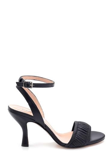 Siyah Kadın Deri Topuklu Sandalet 5638279517