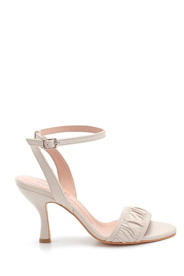 Bej Kadın Deri Topuklu Sandalet 5638279522