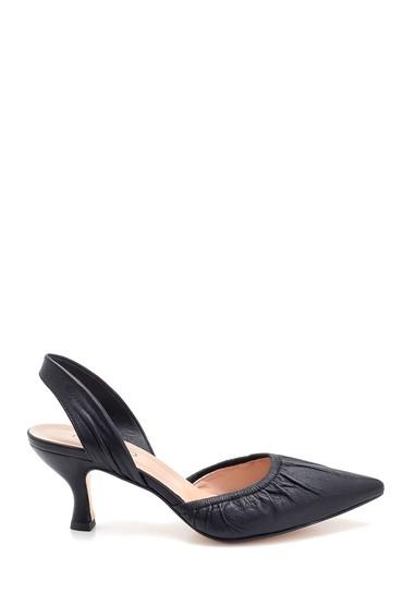 Siyah Kadın Deri Topuklu Sandalet 5638280791