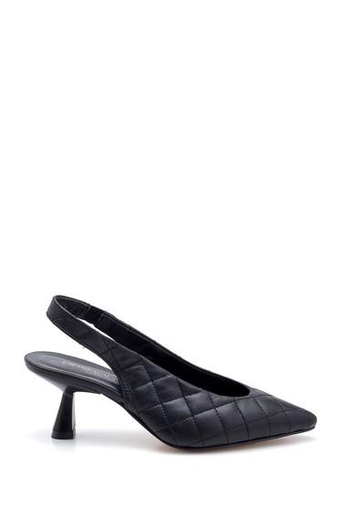 Siyah Kadın Deri Kapitone Detaylı Ayakkabı 5638280810
