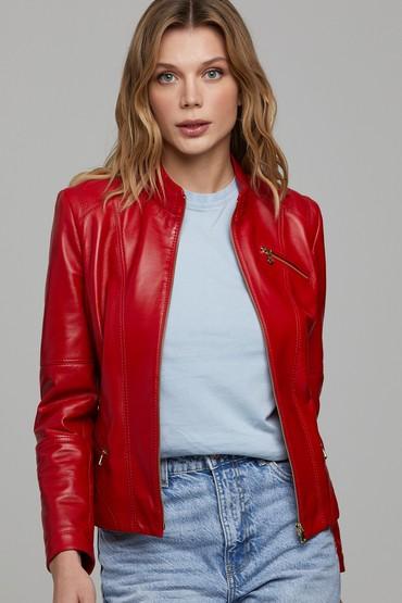 Kırmızı Donna Kadın Deri Ceket 5638299681