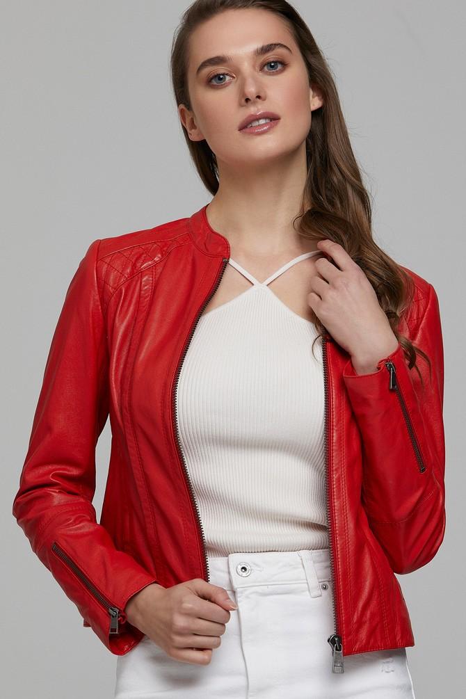 Kırmızı Paris Kadın Deri Ceket 5638302578