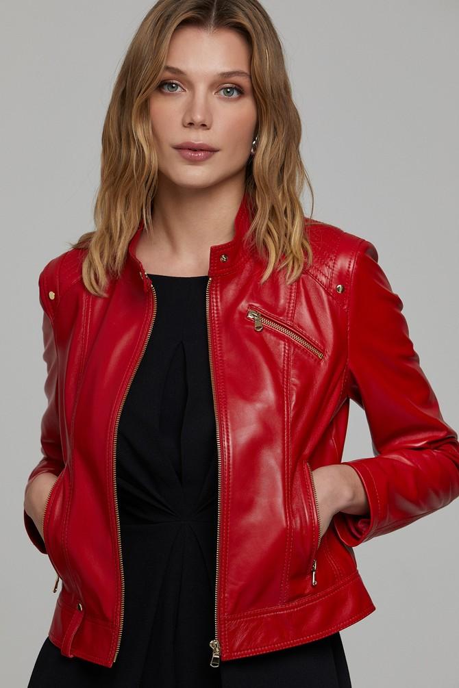 Kırmızı Sonia Kadın Deri Ceket 5638305853