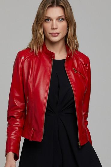 Kırmızı Sonia Kadın Deri Ceket 5638305847