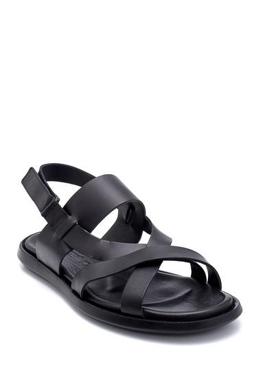 Siyah Erkek Deri Sandalet 5638254901