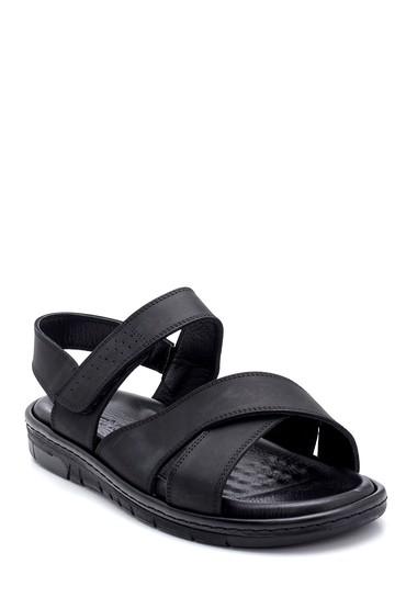 Siyah Erkek Nubuk Bantlı Sandalet 5638254989