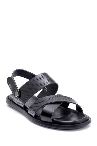 Siyah Erkek Deri Sandalet 5638255003