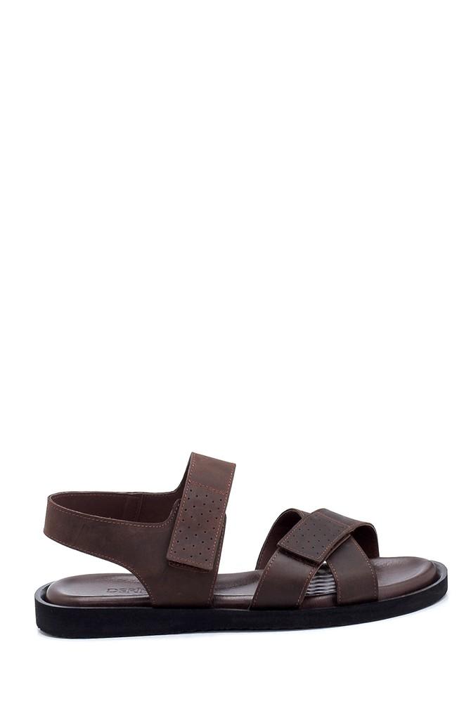 Kahverengi Erkek Nubuk Bantlı Sandalet 5638255018
