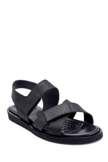 Siyah Erkek Nubuk Bantlı Sandalet 5638255016