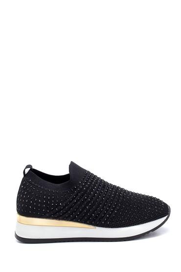 Siyah Kadın Çorap Taş Detaylı Sneaker 5638257596
