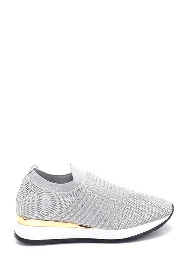 Gri Kadın Çorap Taş Detaylı Sneaker 5638257595