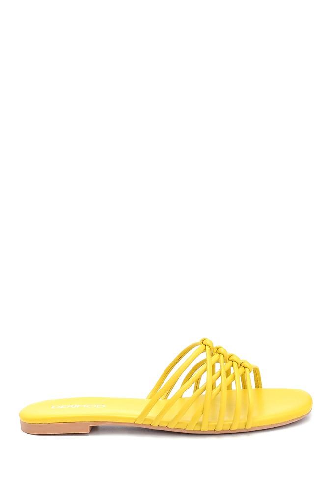 Sarı Kadın Deri Terlik 5638261032