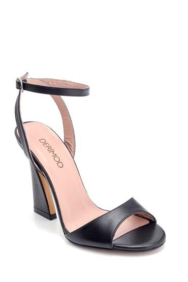 Siyah Kadın Deri Topuk Detaylı Sandalet 5638288484