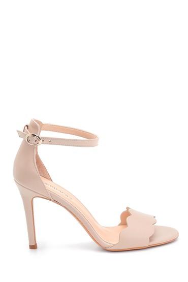 Bej Kadın Deri Topuklu Sandalet 5638291491