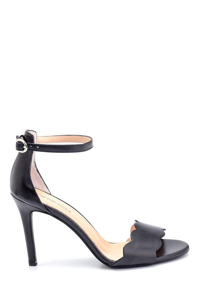 Siyah Kadın Deri Topuklu Ayakkabı 5638291493