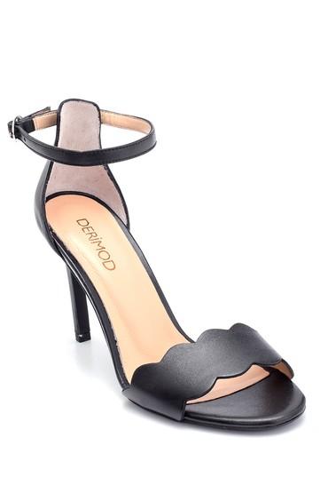 Siyah Kadın Deri Topuklu Sandalet 5638291493
