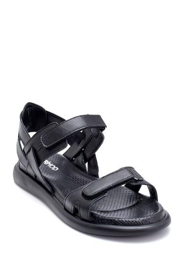 Siyah Kadın Deri Bantlı Sandalet 5638268386