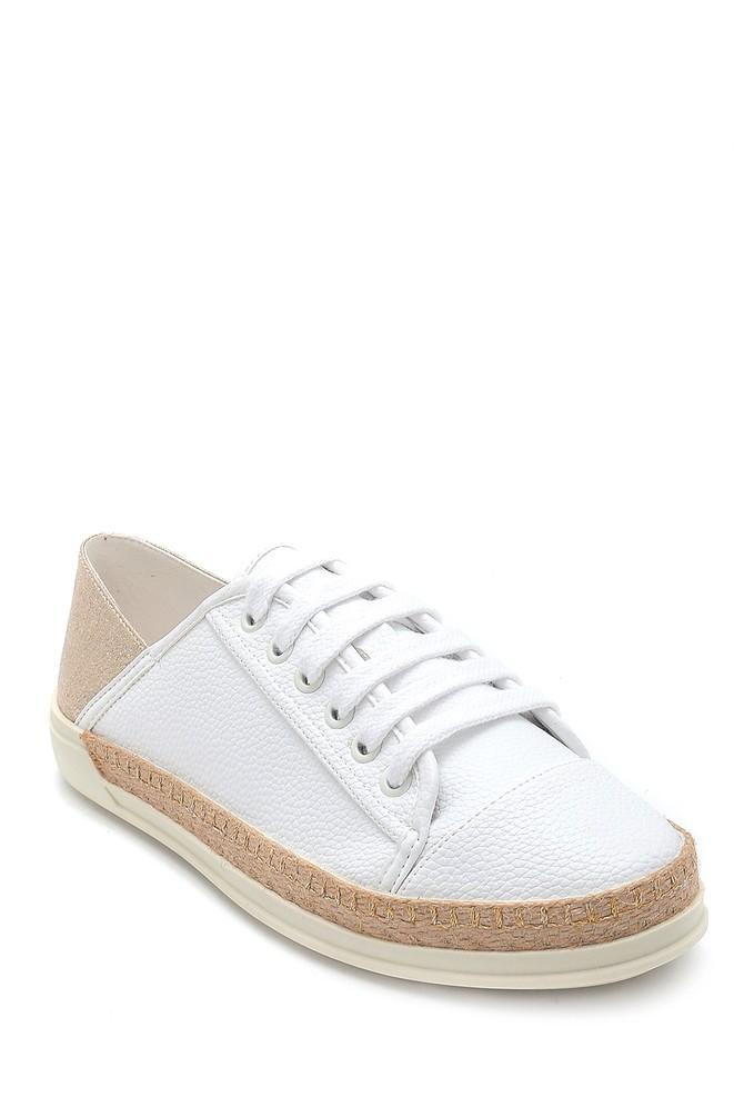 5638294328 Kadın Hasır Detaylı Sneaker