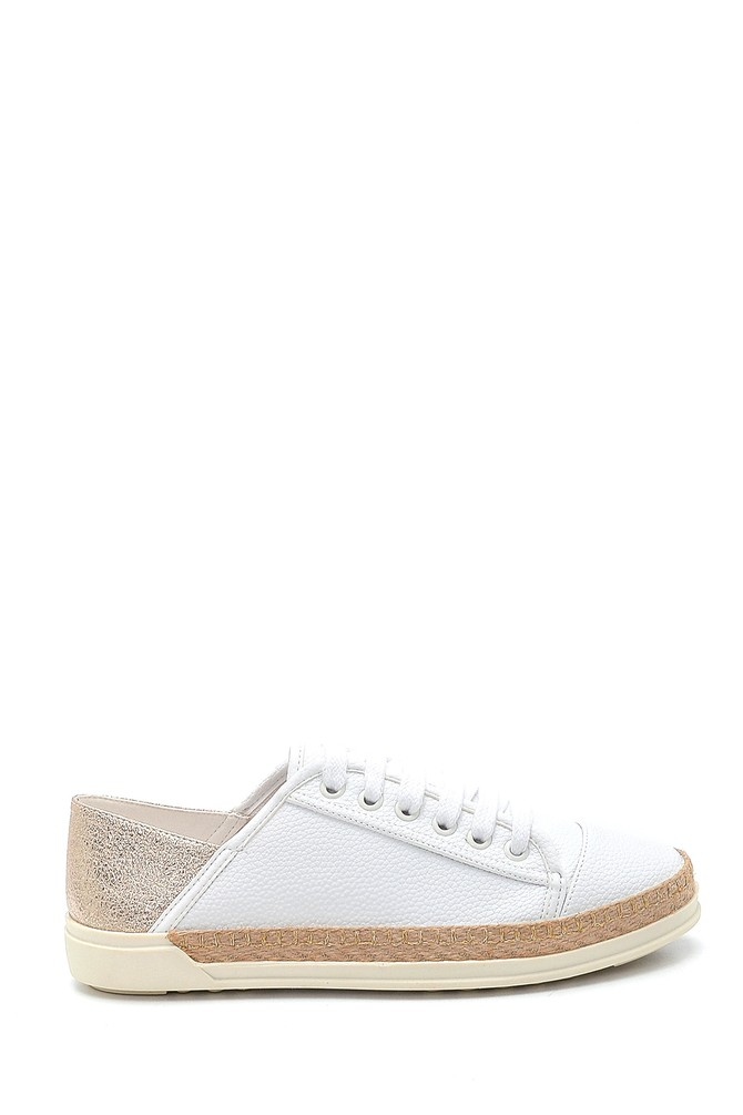 Beyaz Kadın Hasır Detaylı Sneaker 5638294328