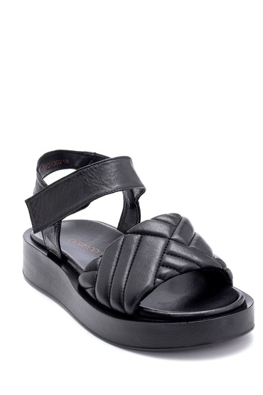 Siyah Kadın Deri Bantlı Sandalet 5638279359
