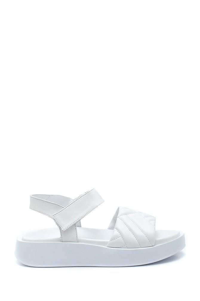 Beyaz Kadın Deri Bantlı Sandalet 5638279357